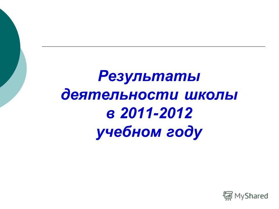 Результаты деятельности школы в 2011-2012 учебном году