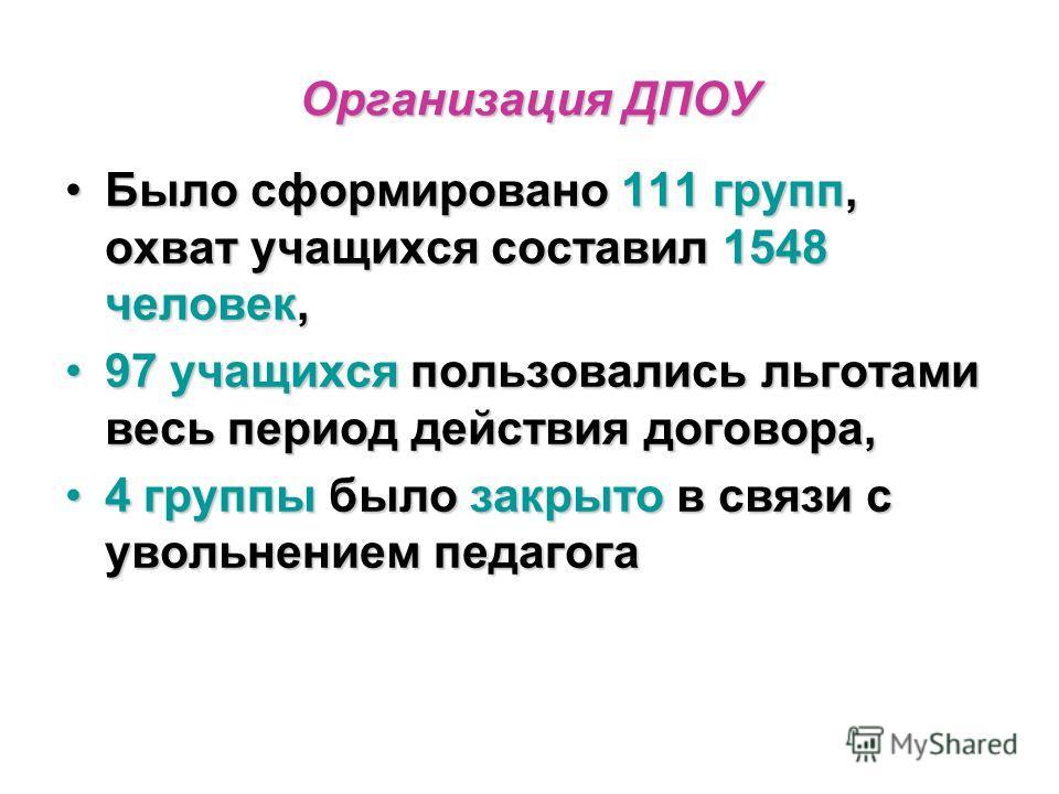 Организация ДПОУ Было сформировано 111 групп, охват учащихся составил 1548 человек,Было сформировано 111 групп, охват учащихся составил 1548 человек, 97 учащихся пользовались льготами весь период действия договора,97 учащихся пользовались льготами ве