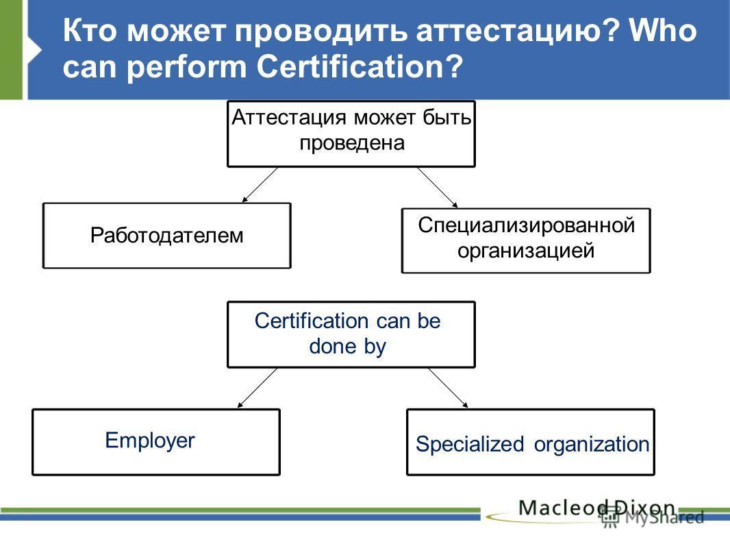 Кто может проводить аттестацию? Who can perform Certification? Аттестация может быть проведена Работодателем Специализированной организацией Certification can be done by Employer Specialized organization