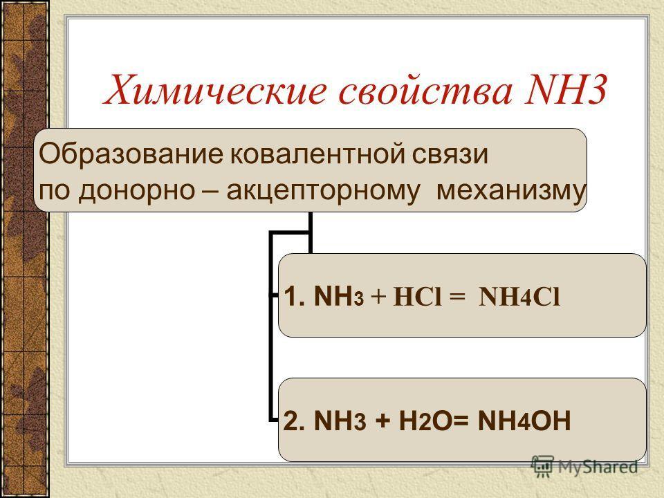 Образование ковалентной связи по донорно – акцепторному механизму (как основание) 1.Взаимодействие с кислотами 1.Взаимодействие с водой
