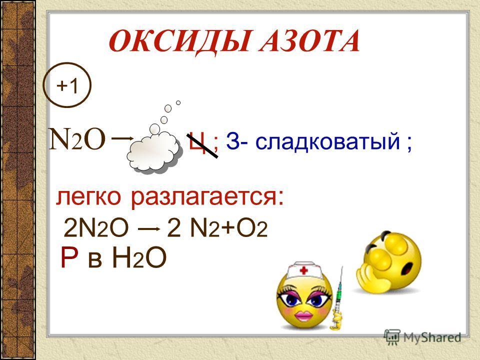 ОКСИДЫ АЗОТА +1 +2 +3 +4 +5 N 2 О NО N 2 О 3 NО 2 N 2 О 5 несолеобразующие солеобразующие