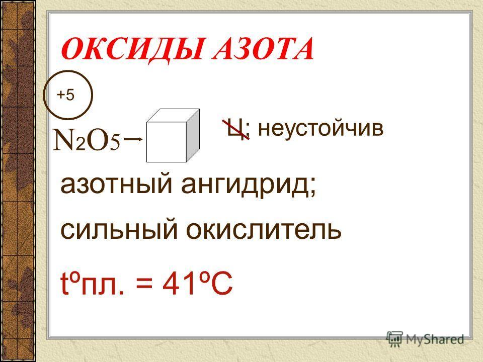 ОКСИДЫ АЗОТА NО2NО2 Р в Н 2 О – высокая сильный окислитель +4 Ц-бурый; ! токсичен