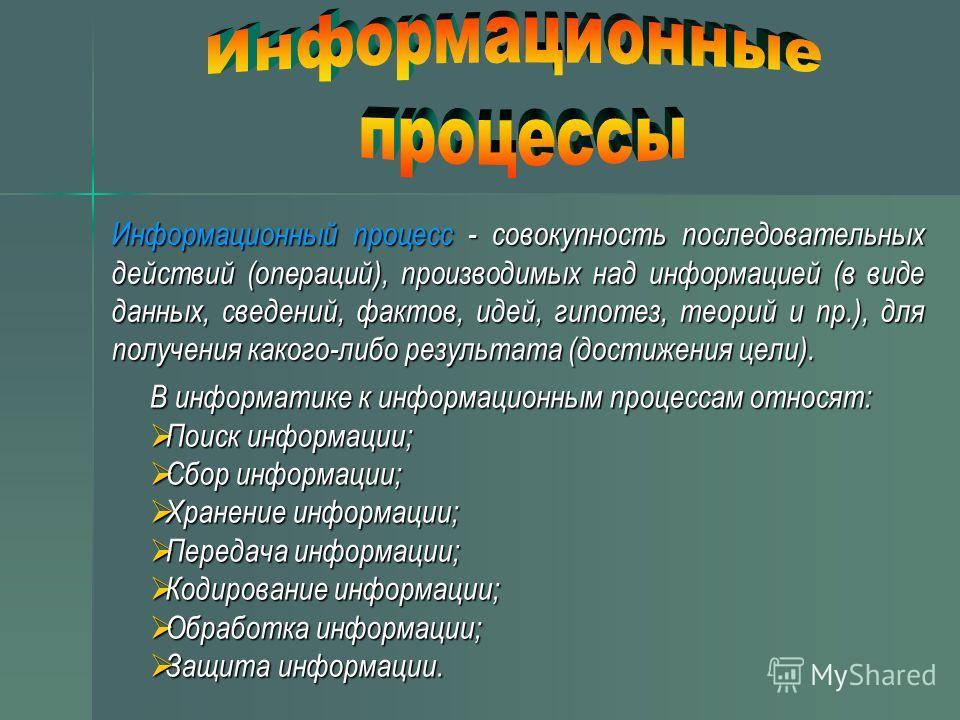 В информатике к информационным процессам относят: Поиск информации; Поиск информации; Сбор информации; Сбор информации; Хранение информации; Хранение информации; Передача информации; Передача информации; Кодирование информации; Кодирование информации