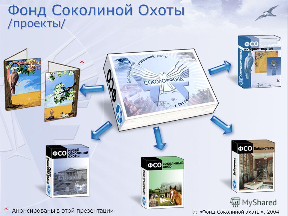 Фонд Соколиной Охоты /проекты/ * * Анонсированы в этой презентации © «Фонд Соколиной охоты», 2004