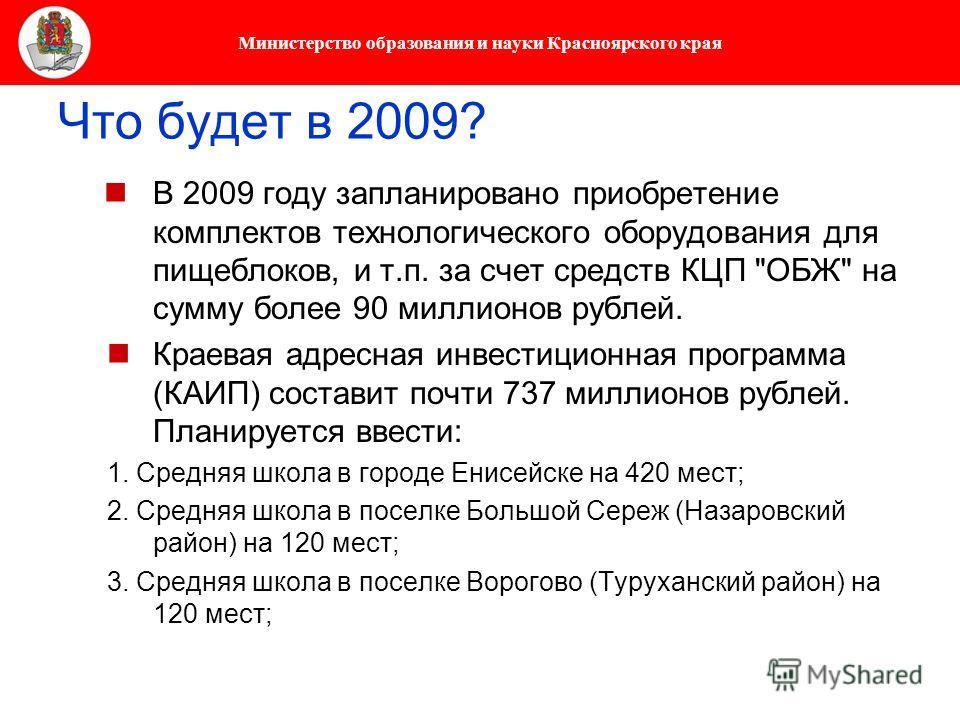 Министерство образования и науки Красноярского края Что будет в 2009? В 2009 году запланировано приобретение комплектов технологического оборудования для пищеблоков, и т.п. за счет средств КЦП