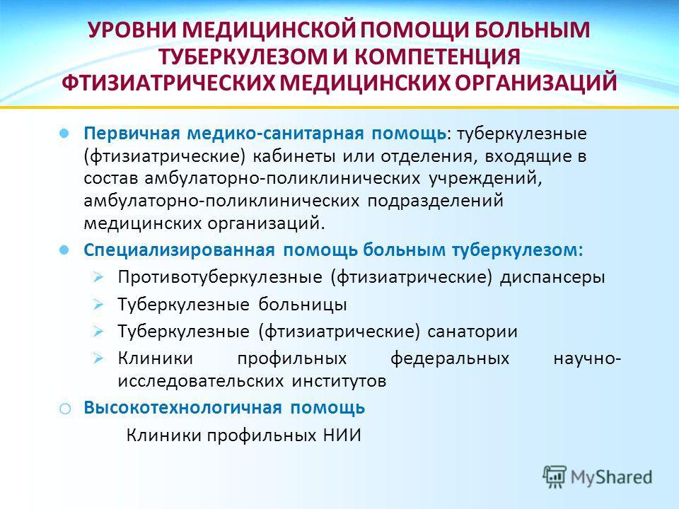 УРОВНИ МЕДИЦИНСКОЙ ПОМОЩИ БОЛЬНЫМ ТУБЕРКУЛЕЗОМ И КОМПЕТЕНЦИЯ ФТИЗИАТРИЧЕСКИХ МЕДИЦИНСКИХ ОРГАНИЗАЦИЙ Первичная медико-санитарная помощь: туберкулезные (фтизиатрические) кабинеты или отделения, входящие в состав амбулаторно-поликлинических учреждений,