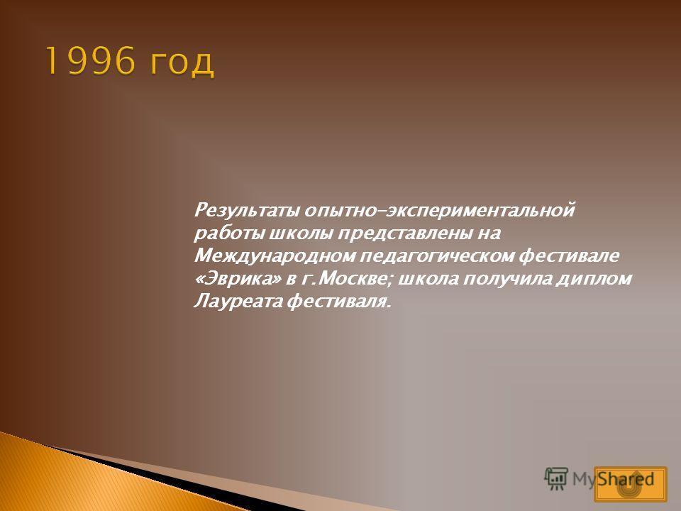 На основании решения Исполнительного комитета Таганрогского городского совета народных депутатов 681 от 3 июля 1991 года в школе ведется опытно- экспериментальная работа по реализации учебно-воспитательной модели, принципиальная новизна которой состо