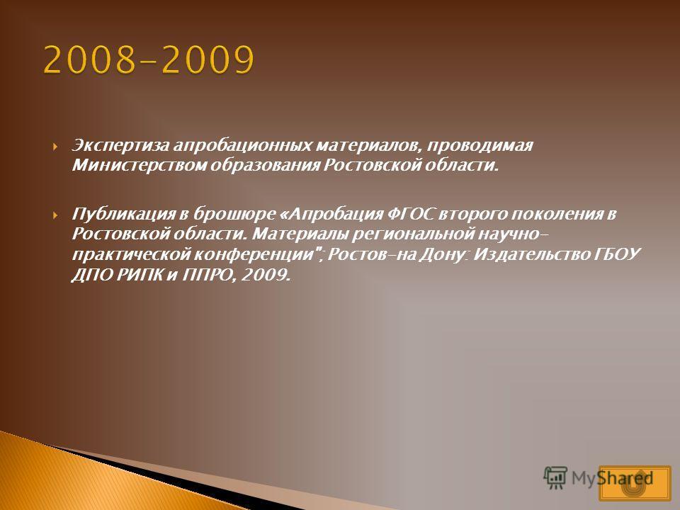 2008- 2009 первый этап апробациипервый этап апробации 2009- 2010 разработка программ по внеуроч- ной деятель- ностиразработка программ по внеуроч- ной деятель- ности 2010- 2011 деятель- ность по внедрению ФГОСдеятель- ность по внедрению ФГОС 2011- 20
