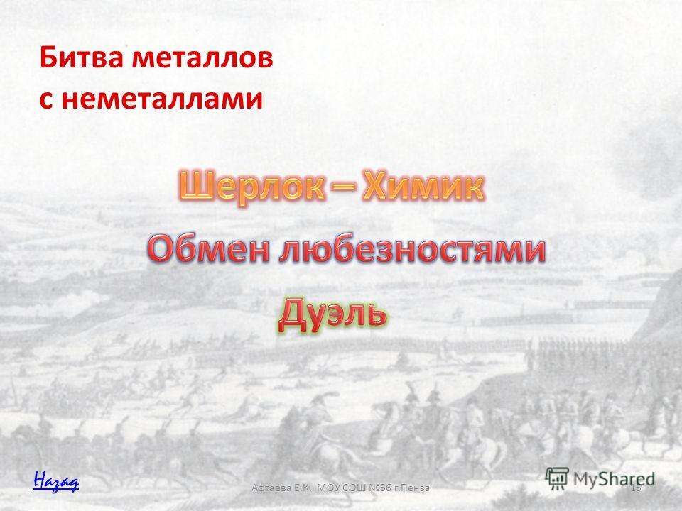 Афтаева Е.К. МОУ СОШ 36 г.Пенза15 Битва металлов с неметаллами Назад