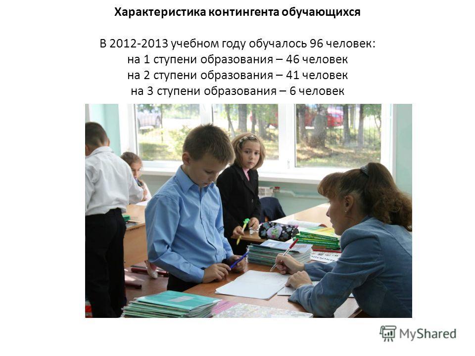 Характеристика контингента обучающихся В 2012-2013 учебном году обучалось 96 человек: на 1 ступени образования – 46 человек на 2 ступени образования – 41 человек на 3 ступени образования – 6 человек