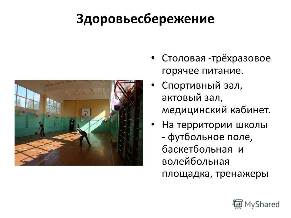 Здоровьесбережение Столовая -трёхразовое горячее питание. Спортивный зал, актовый зал, медицинский кабинет. На территории школы - футбольное поле, баскетбольная и волейбольная площадка, тренажеры