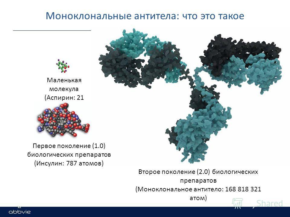 Моноклональные антитела: что это такое Маленькая молекула (Аспирин: 21 атом) Первое поколение (1.0) биологических препаратов (Инсулин: 787 атомов) Второе поколение (2.0) биологических препаратов (Моноклональное антитело: 168 818 321 атом) 12