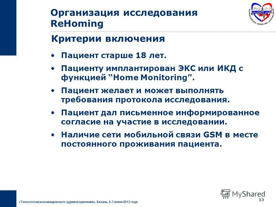 «Технологии инновационного здравоохранения», Казань, 6-7 июня 2013 года 12 Национальное Многоцентровое Перспективное Дизайн исследования Организация исследования ReHoming