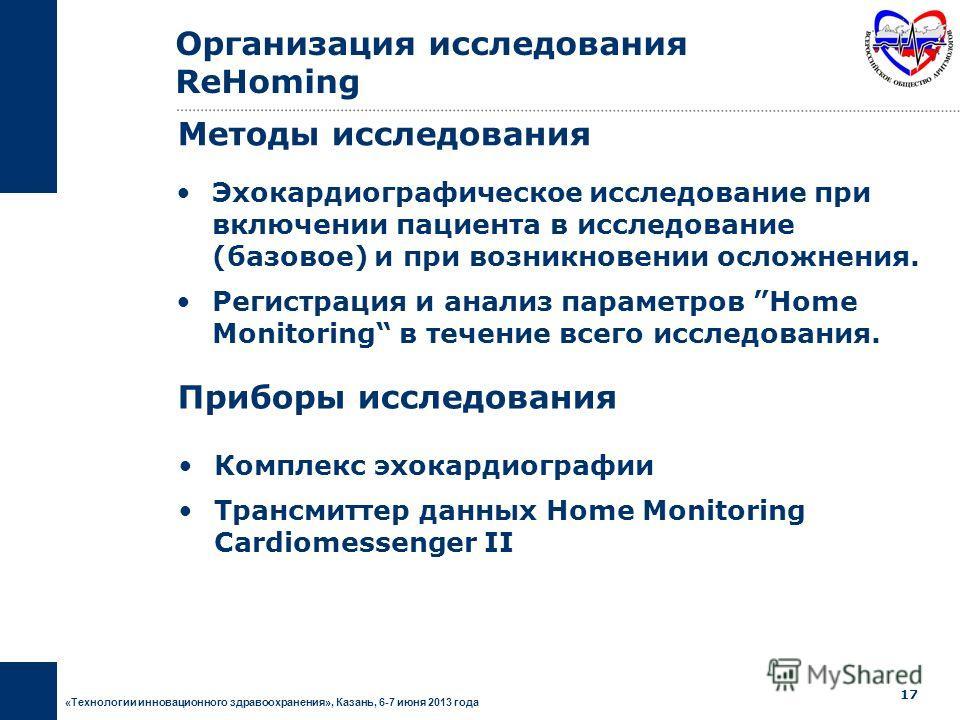 «Технологии инновационного здравоохранения», Казань, 6-7 июня 2013 года 16 Включение пациента в исследование Инициализация функции Home Monitoring Оценка функции Home Monitoring Регулярное амбулаторное обследование Нежелательное явление (по тревожном