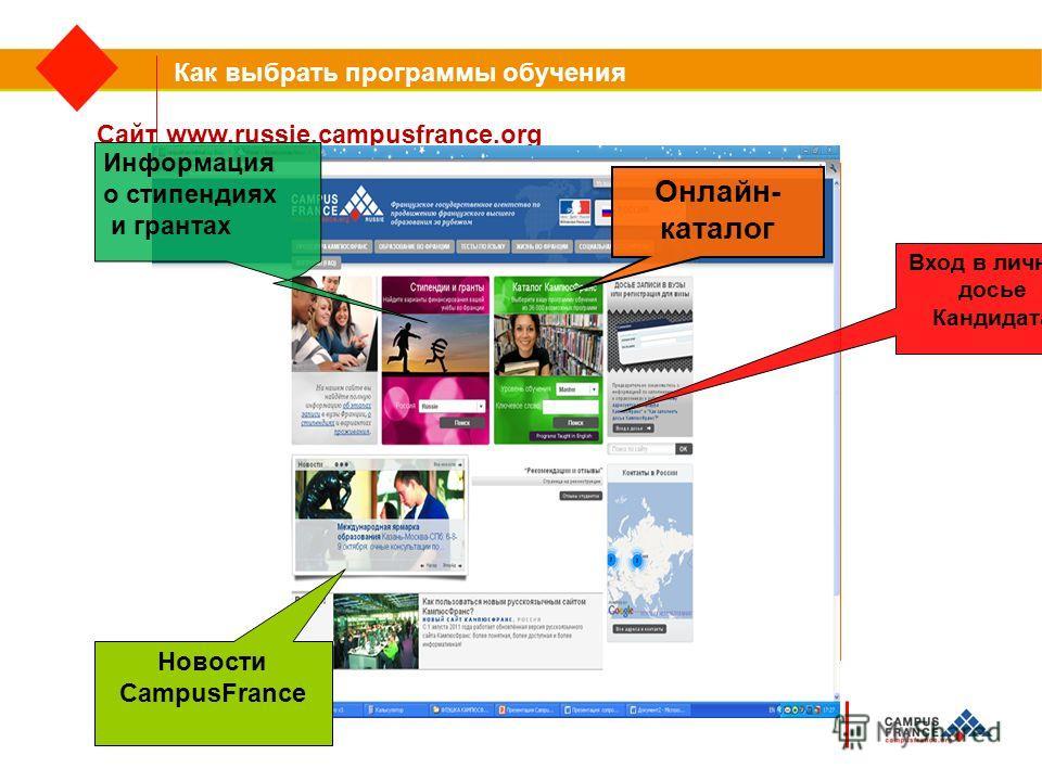 Как выбрать программы обучения Сайт www.russie.campusfrance.org Информация о стипендиях и грантах Онлайн- каталог Вход в личное досье Кандидата Новости CampusFrance