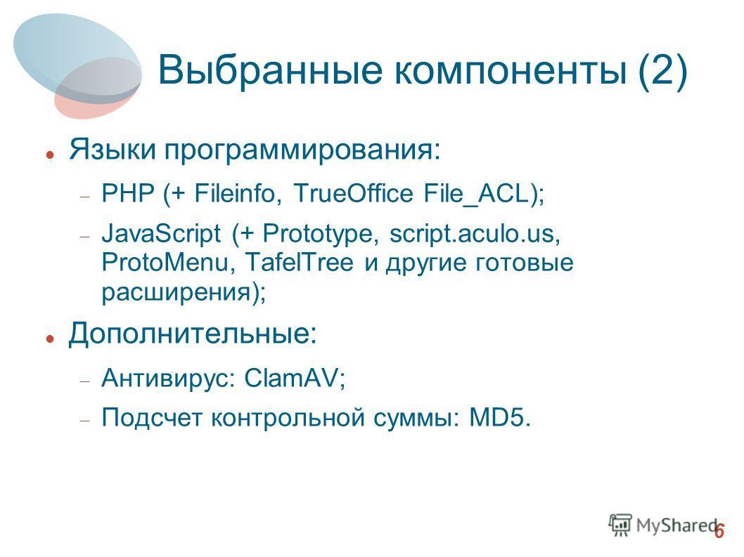 Выбранные компоненты (2) Языки программирования: PHP (+ Fileinfo, TrueOffice File_ACL); JavaScript (+ Prototype, script.aculo.us, ProtoMenu, TafelTree и другие готовые расширения); Дополнительные: Антивирус: ClamAV; Подсчет контрольной суммы: MD5. 6