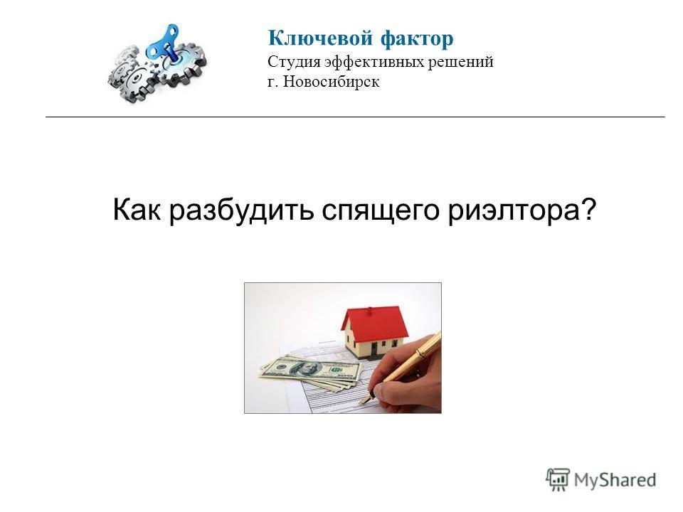 Ключевой фактор Студия эффективных решений г. Новосибирск Как разбудить спящего риэлтора?