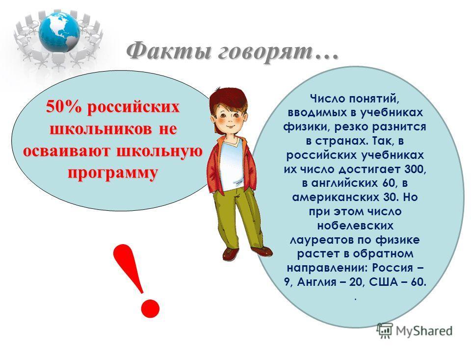 50% российских школьников не осваивают школьную программу Факты говорят… ! Число понятий, вводимых в учебниках физики, резко разнится в странах. Так, в российских учебниках их число достигает 300, в английских 60, в американских 30. Но при этом число