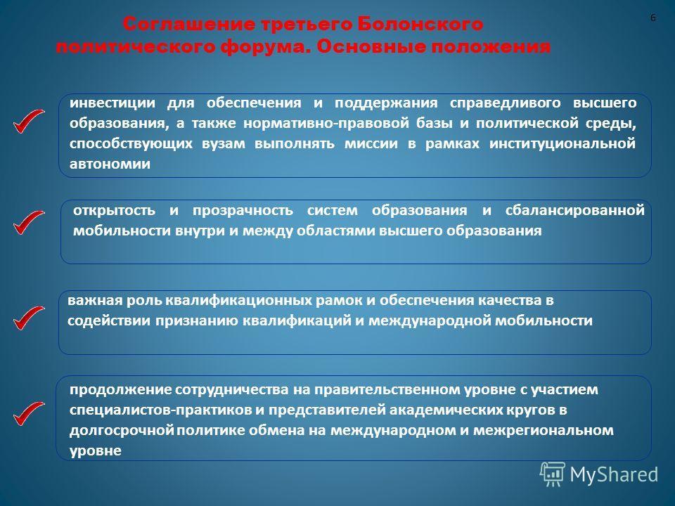 6 Соглашение третьего Болонского политического форума. Основные положения продолжение сотрудничества на правительственном уровне с участием специалистов-практиков и представителей академических кругов в долгосрочной политике обмена на международном и