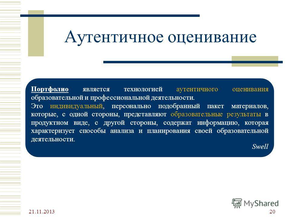 Аутентичное оценивание 21.11.2013 20 Портфолио является технологией аутентичного оценивания образовательной и профессиональной деятельности. Это индивидуальный, персонально подобранный пакет материалов, которые, с одной стороны, представляют образова