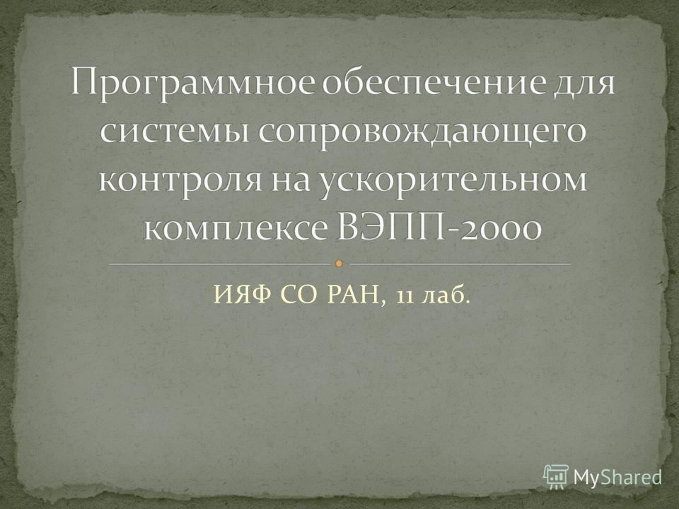 ИЯФ СО РАН, 11 лаб.