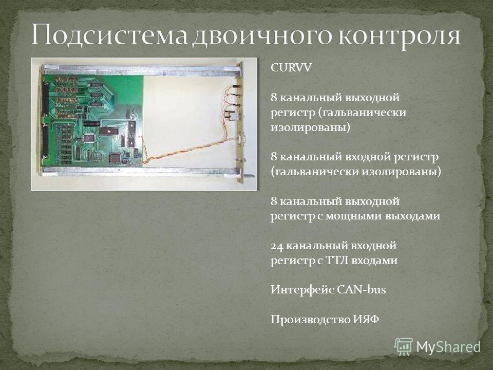 CURVV 8 канальный выходной регистр (гальванически изолированы) 8 канальный входной регистр (гальванически изолированы) 8 канальный выходной регистр с мощными выходами 24 канальный входной регистр с ТТЛ входами Интерфейс CAN-bus Производство ИЯФ