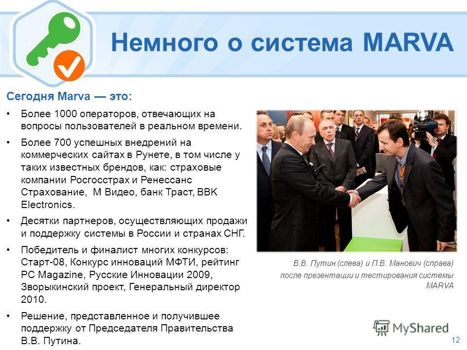 12 Немного о система MARVA В.В. Путин (слева) и П.В. Манович (справа) после презентации и тестирования системы MARVA Сегодня Marva это: Более 1000 операторов, отвечающих на вопросы пользователей в реальном времени. Более 700 успешных внедрений на ком