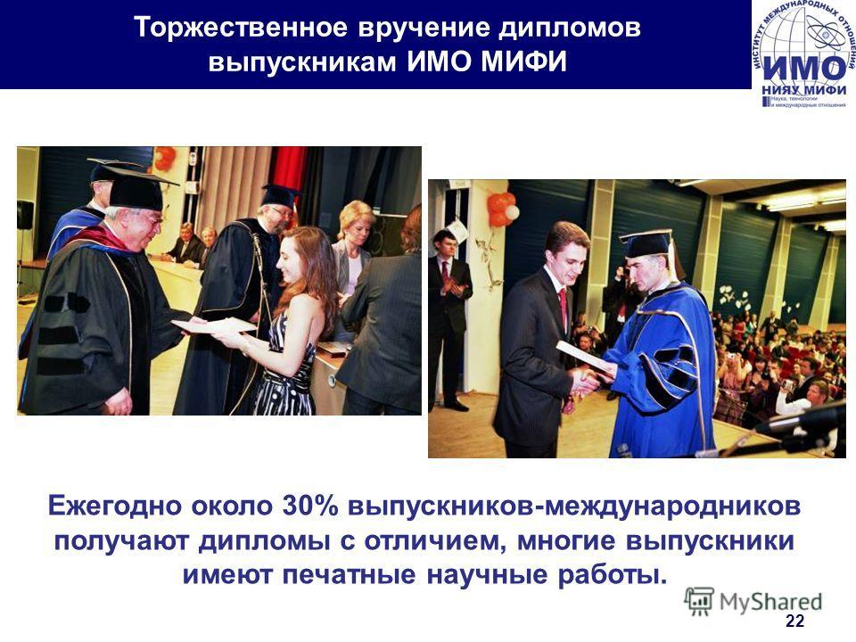 Торжественное вручение дипломов выпускникам ИМО МИФИ Ежегодно около 30% выпускников-международников получают дипломы с отличием, многие выпускники имеют печатные научные работы. 22