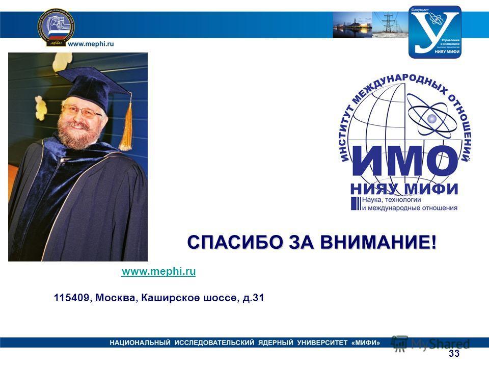www.mephi.ru 115409, Москва, Каширское шоссе, д.31 СПАСИБО ЗА ВНИМАНИЕ! 33