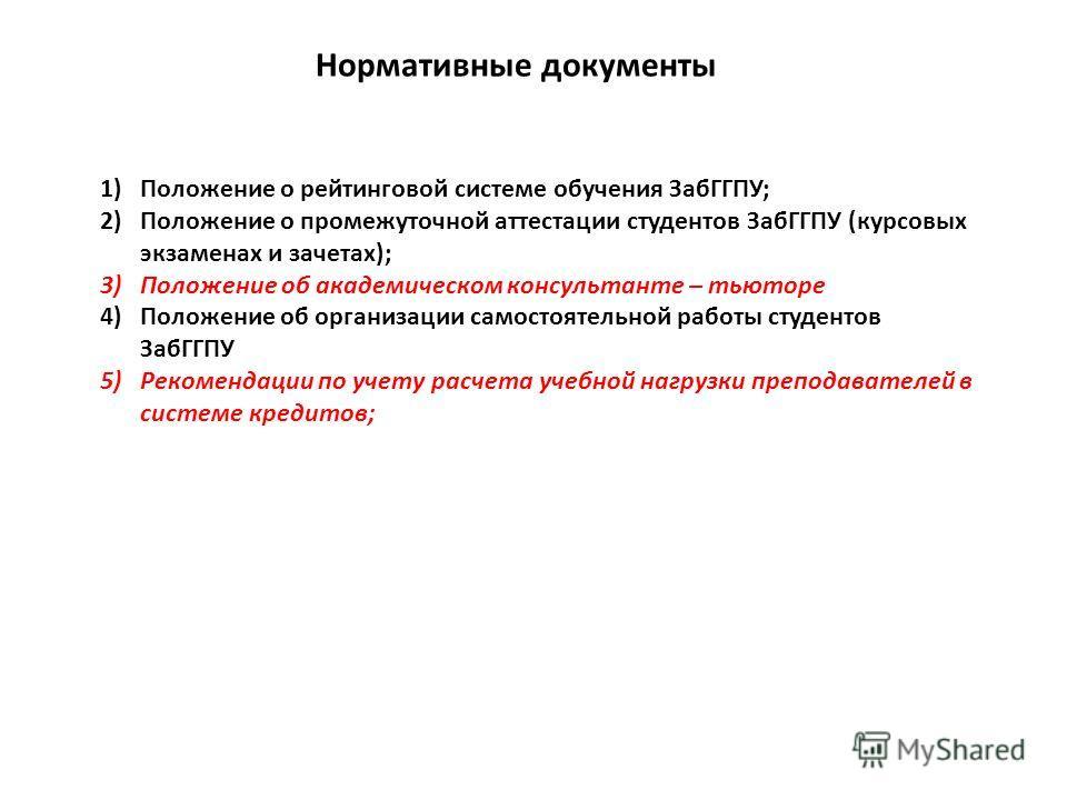 1)Положение о рейтинговой системе обучения ЗабГГПУ; 2)Положение о промежуточной аттестации студентов ЗабГГПУ (курсовых экзаменах и зачетах); 3)Положение об академическом консультанте – тьюторе 4)Положение об организации самостоятельной работы студент
