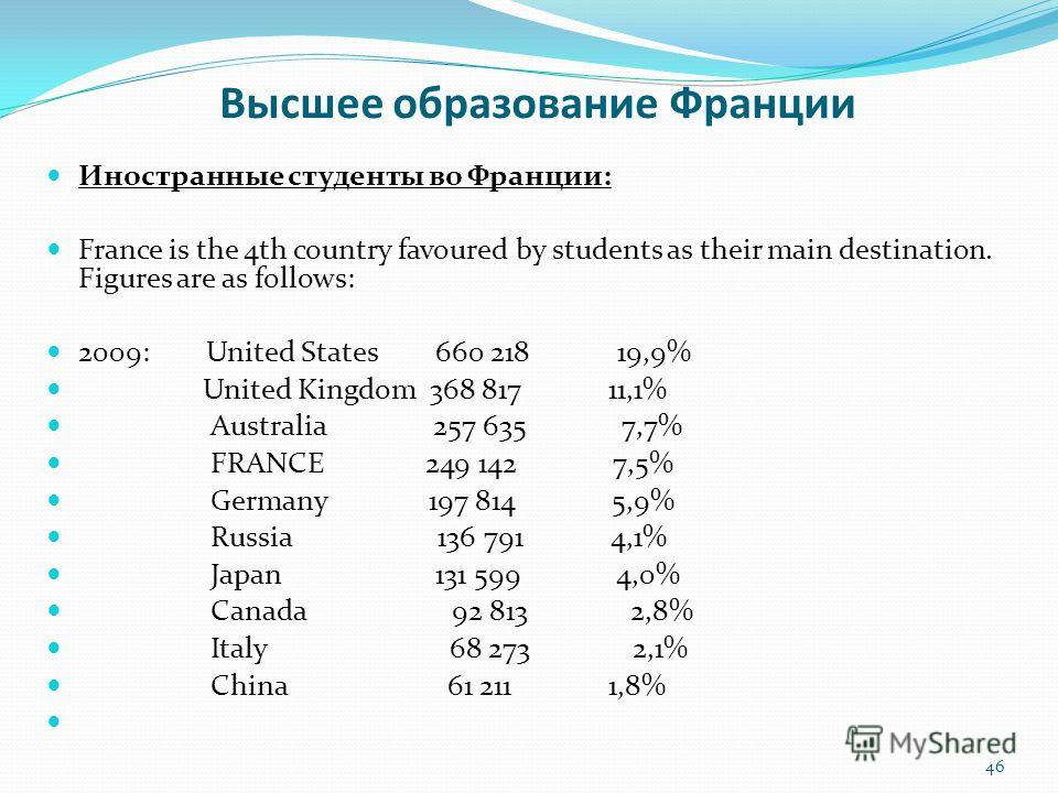 Высшее образование Франции Иностранные студенты во Франции: France is the 4th country favoured by students as their main destination. Figures are as follows: 2009: United States 660 218 19,9% United Kingdom 368 817 11,1% Australia 257 635 7,7% FRANCE
