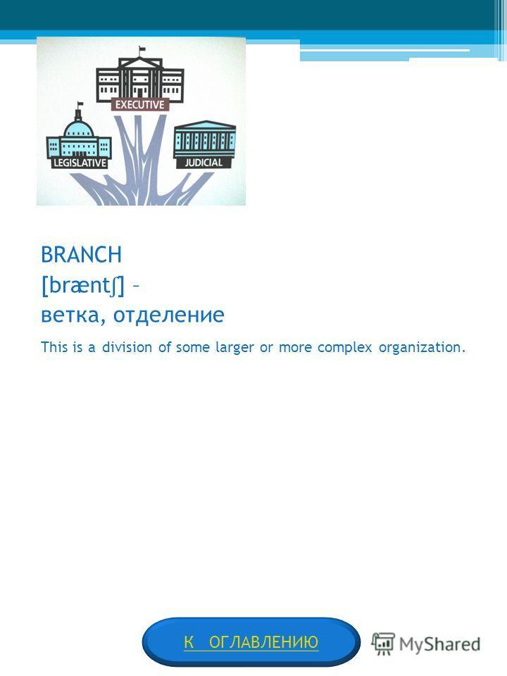BRANCH [brænt ʃ ] – ветка, отделение This is a division of some larger or more complex organization. К ОГЛАВЛЕНИЮ