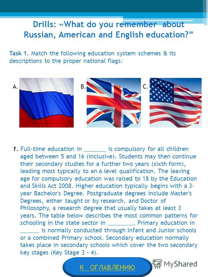 Drills: «What do you remember about Russian, American and English education? Task 1. Match the following education system schemes & its descriptions to the proper national flags: A. В. С. 1. Full-time education in _______ is compulsory for all childr