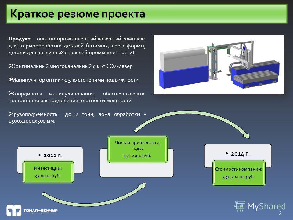 2011 г. Инвестиции: 33 млн. руб. Чистая прибыль за 4 года: 251 млн. руб. 2014 г. Стоимость компании: 531,2 млн. руб. 2 Продукт - опытно-промышленный лазерный комплекс для термообработки деталей (штампы, пресс-формы, детали для различных отраслей пром