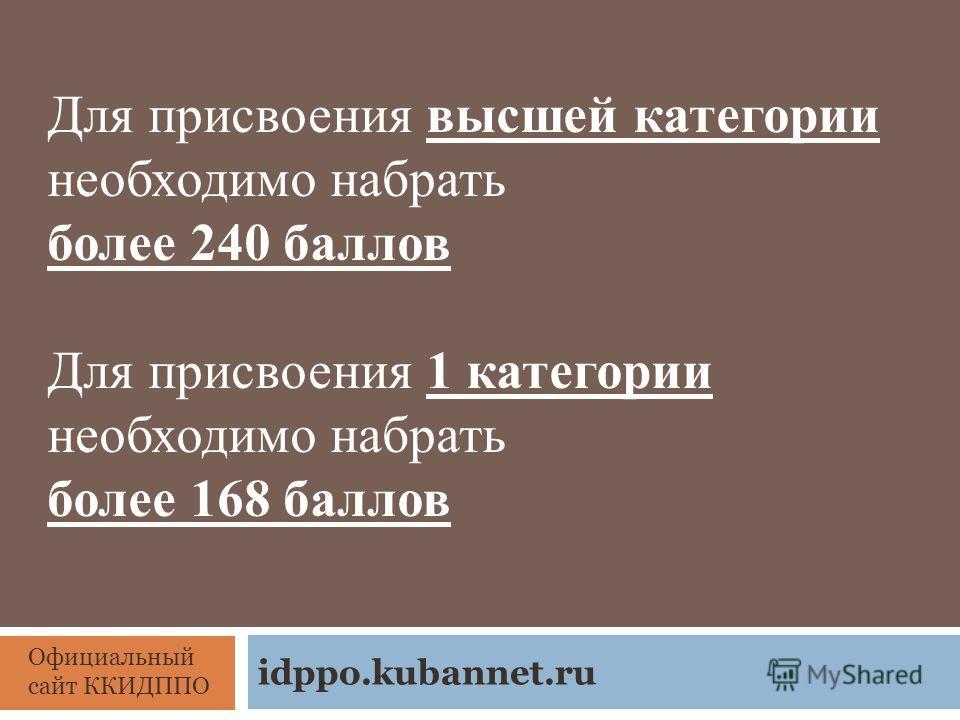 Для присвоения высшей категории необходимо набрать более 240 баллов Для присвоения 1 категории необходимо набрать более 168 баллов Официальный сайт ККИДППО idppo.kubannet.ru