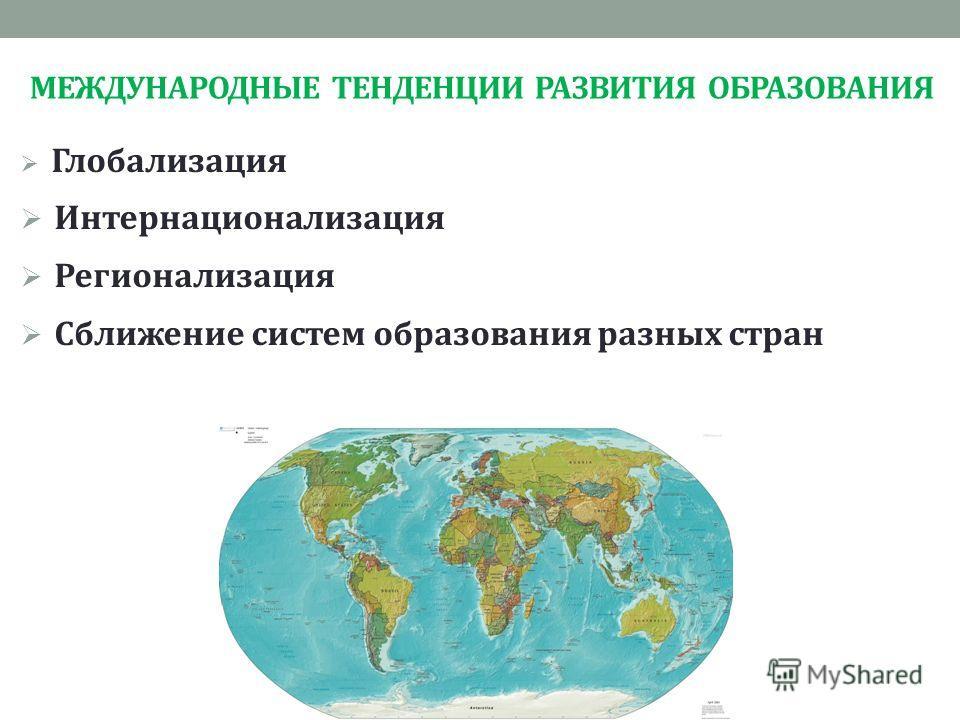 МЕЖДУНАРОДНЫЕ ТЕНДЕНЦИИ РАЗВИТИЯ ОБРАЗОВАНИЯ Глобализация Интернационализация Регионализация Сближение систем образования разных стран