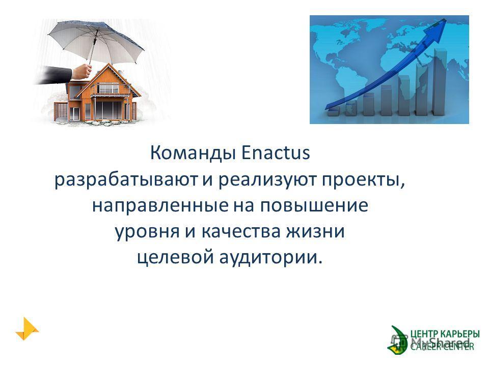 Команды Enactus разрабатывают и реализуют проекты, направленные на повышение уровня и качества жизни целевой аудитории.