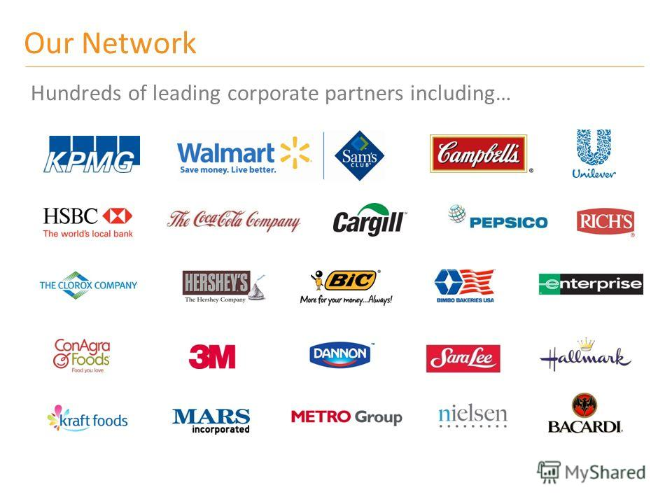 Hundreds of leading corporate partners including… Our Network