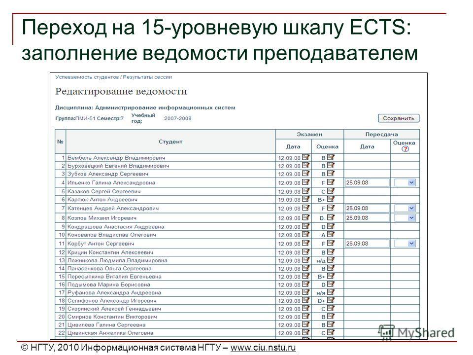 Переход на 15-уровневую шкалу ECTS: заполнение ведомости преподавателем © НГТУ, 2010 Информационная система НГТУ – www.ciu.nstu.ru