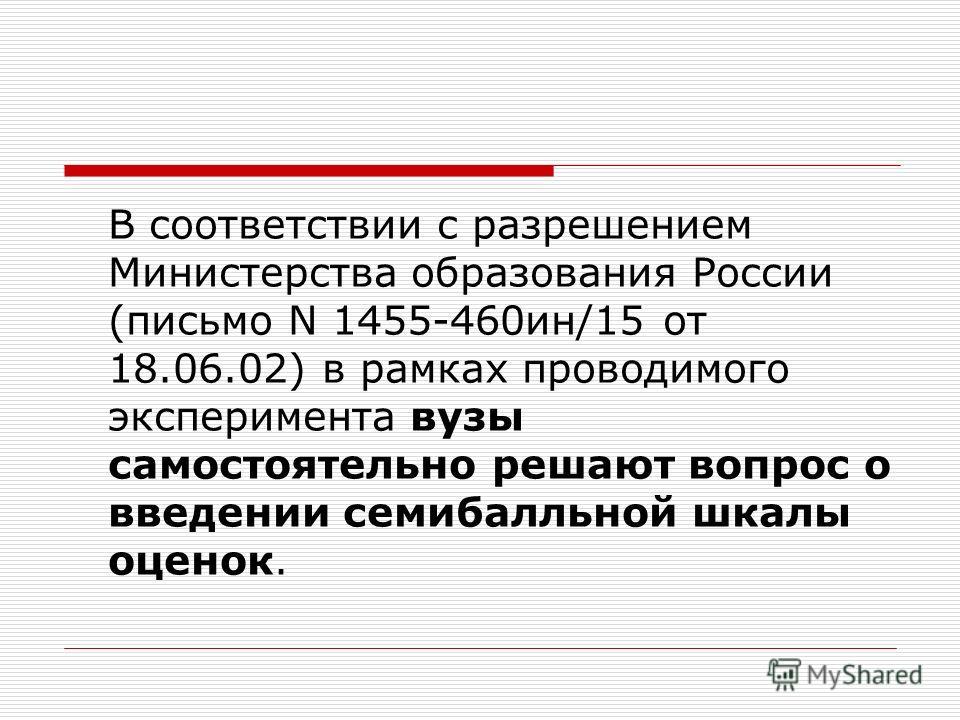 В соответствии с разрешением Министерства образования России (письмо N 1455-460ин/15 от 18.06.02) в рамках проводимого эксперимента вузы самостоятельно решают вопрос о введении семибалльной шкалы оценок.