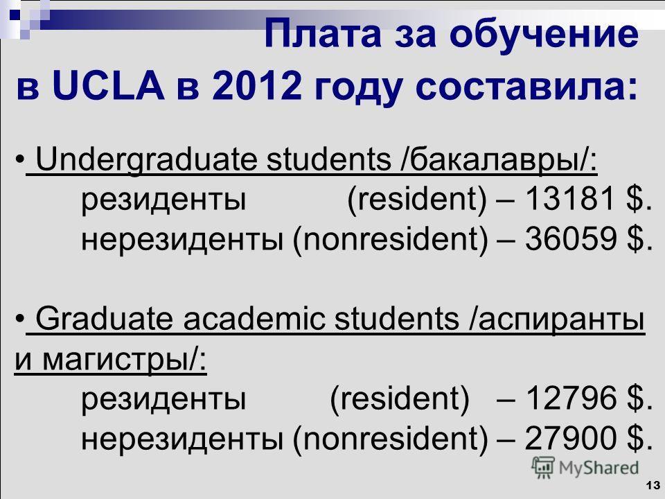 13 Плата за обучение в UCLA в 2012 году составила: Undergraduate students /бакалавры/: резиденты (resident) – 13181 $. нерезиденты (nonresident) – 36059 $. Graduate academic students /аспиранты и магистры/: резиденты (resident) – 12796 $. нерезиденты