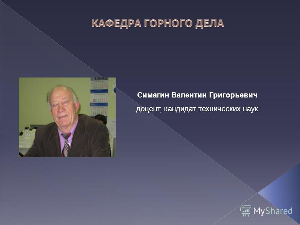 Симагин Валентин Григорьевич доцент, кандидат технических наук