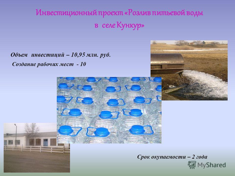 Срок окупаемости – 2 года Объем инвестиций – 10,95 млн. руб. Создание рабочих мест - 10 Инвестиционный проект «Розлив питьевой воды в селе Кункур»