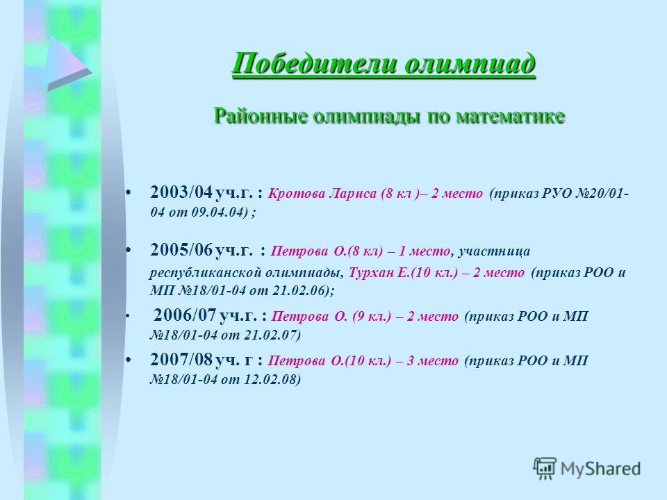 Победители олимпиад Районные олимпиады по математике 2003/04 уч.г. : Кротова Лариса (8 кл )– 2 место (приказ РУО 20/01- 04 от 09.04.04) ; 2005/06 уч.г. : Петрова О.(8 кл) – 1 место, участница республиканской олимпиады, Турхан Е.(10 кл.) – 2 место (пр
