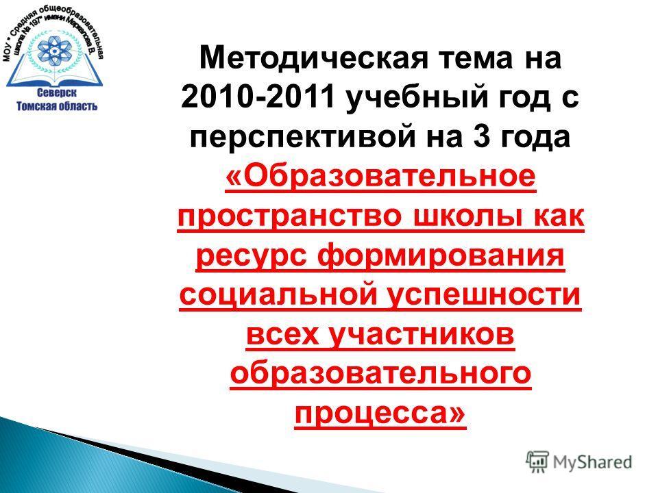 Методическая тема на 2010-2011 учебный год с перспективой на 3 года «Образовательное пространство школы как ресурс формирования социальной успешности всех участников образовательного процесса»