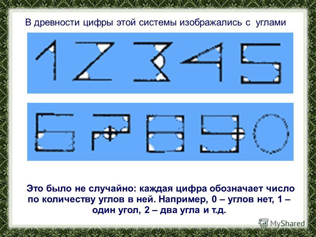 В древности цифры этой системы изображались с углами Это было не случайно: каждая цифра обозначает число по количеству углов в ней. Например, 0 – углов нет, 1 – один угол, 2 – два угла и т.д.