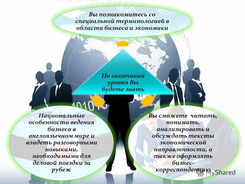 По окончании уровня Вы будете знать Вы сможете читать, понимать, анализировать и обсуждать тексты экономической направленности, а также оформлять бизнес- корреспонденцию Вы познакомитесь со специальной терминологией в области бизнеса и экономики Наци
