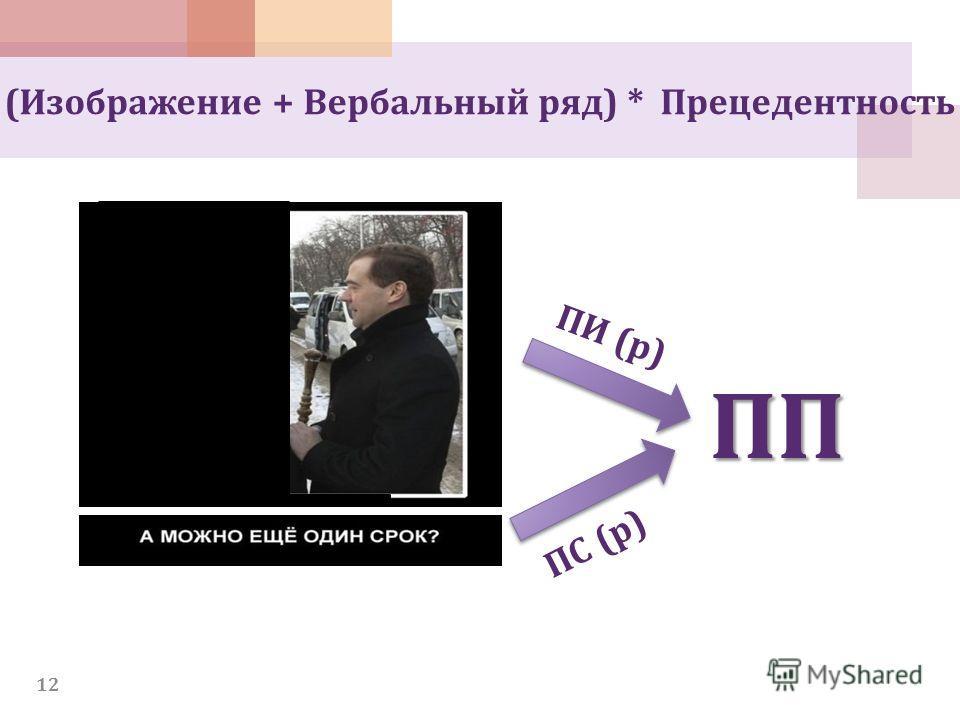 12 (Изображение + Вербальный ряд) * Прецедентность ПП ПИ (р) ПС (р)