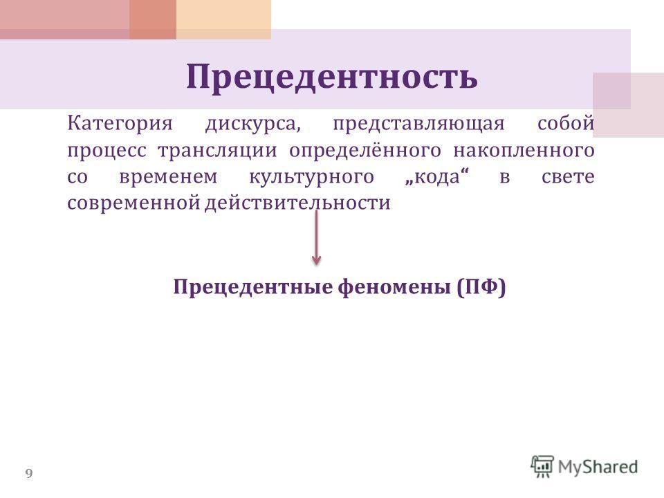 Прецедентность Категория дискурса, представляющая собой процесс трансляции определённого накопленного со временем культурного кода в свете современной действительности 9 Прецедентные феномены (ПФ)