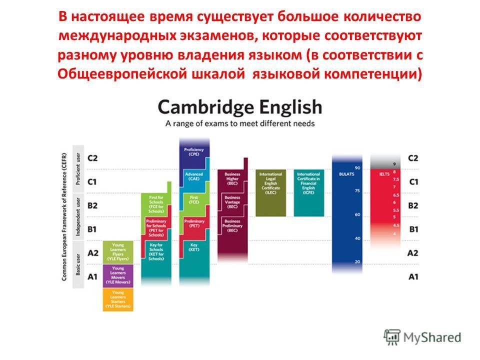 В настоящее время существует большое количество международных экзаменов, которые соответствуют разному уровню владения языком (в соответствии с Общеевропейской шкалой языковой компетенции)